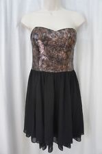 Guess Los Angeles Dress Sz 12 Black Gold Sequined Cocktail Evening Party Dress