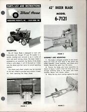 Vintage Wheel Horse Parts List Amp Instructions 42 Dozer Blade Model 6 7121