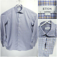ETON Contemporary Mens 16 41 Large Long Sleeve Button Up Nulticolor Check