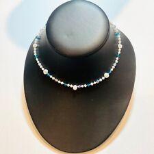 Handmade Sterling 925 Silver Choker Necklace Genuine Cultured Pearls, Swarovski