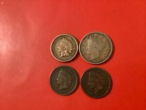 3x small Indian head cents good/ very nice detail various.