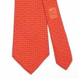HERMES TIE 5225 IA Geometric in Orange & Red Classic Silk Necktie
