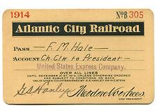 VINTAGE 1914 ATLANTIC CITY RAILROAD TRAIN PASS