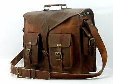 New Men's Vintage Brown Leather Messenger Bag Laptop Satchel Shoulder Briefcase