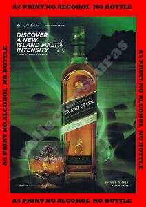 Johnnie Walker ISLAND GREEN Bottle & glass advert - A4 PRINT - NO ALCOHOL