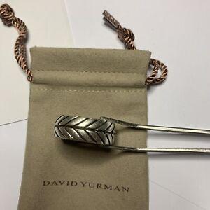 David Yurman Men's Sterling Silver Chevron 10mm Ring Sz 8 Mint + Pouch