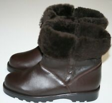EXC! LA CANADIENNE Shearling Lined Brown Leather Boots US 8.5 Women's Booties