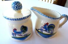 N S Gustin Co. Sugar & Creamer Rooster California Pottery