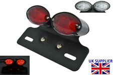 Motorcycle LED Rear Stop Tail Light with Bracket Retro Custom Project BLACK