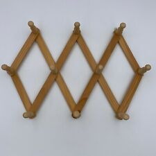 10 Pegs Wall Hanging Wooden Accordion Style Expandable Rack Hats Coats Mugs Cups