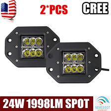 2X 24W CREE LED Spot Beam Work Light Bar Offroad Driving Fog ATV SUV Flush Mount