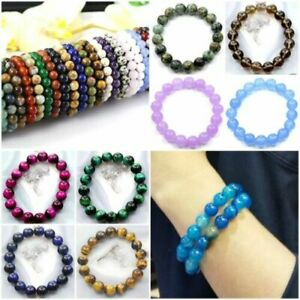 "Handmade Natural Gemstone Stretch Bracelet Round 8MM Beads Healing Reiki 7.5"""
