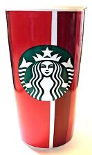 Starbucks Holiday Ceramic Tumbler Red Stripe Double Wall Traveler 12 Oz Cup New