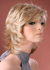 Ladies Short Wig Tousled Layers Light Blonde with Dark Roots Fashion Wig