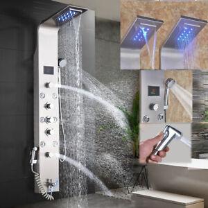 Duschpaneel LED Massage Duscharmatur Edelstahl Regendusche Duschsäule Badarmatur