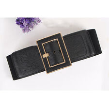 Faux Leather Buckle Stretch Elastic Waist Belt Waistband Ladies Women Retro Wide