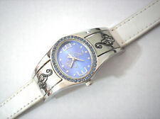 Silver Tone Metal Case White Leather Band Baby Phat Ladies Watch w Blue Stones