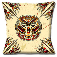 "African Tribal Mask Spears Mustard Brown Red Shades 16""x16"" 40cm Cushion Cover"