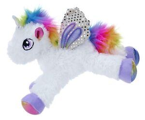 Rainbow Sparkle Unicorn Plush Soft toy Wings Sequin White Pink Blue 33 CM