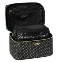 VICTORIAS SECRET BLACK MICRO DOT LOGO COSMETIC BAG MAKEUP TRAIN VANITY CASE NWT