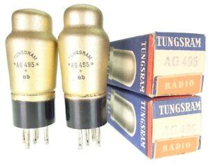 2x AG495 = REN904 = A4110 = A430N Tungsram matched pair Radio Röhre tube NOS