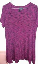 New Directions Knit Top Women's Large  Pink Black Pattern Short Sleeve Tunic
