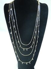 NECKLACE FOUR STRAND BLACK CRYSTAL 32 IN. LENGTH MATCHING EARRINGS