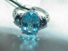 14K .925 Sterling Silver Swiss Blue Topaz Ring Size 6.75 Nicolette $260 Tag