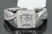 10K WHITE GOLD .61 CT WOMENS PRINCESS CUT DIAMOND BRIDAL WEDDING ENGAGEMENT RING