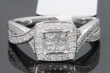10K Oro Blanco .61 Ct Mujer Diamante Talla Princesa Boda Anillo de Compromiso