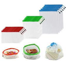 15Pcs reutilizables de Eco Compras Bolso Bolsa de Almacenamiento de Malla de alimentos vegetales frutas cúpula
