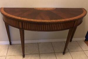 Ethan Allen Solid Demilune Sofa Table