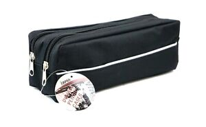 Large Size Double Zip Fabric Pencil Case - Ideal for School/College/Uni,Make Up