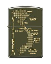 Zippo 0585 Map of Vietnam Green Matte Finish Full Size Lighter