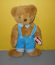 Ganz Cottage Plush Teddy Bear Charleston in Corduroy Overalls and Checkered Tie