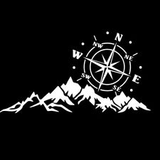 Car Truck Accessories Vinyl Compass Mountain Decal Graphic Sticker For Body Hood