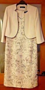 Jaques Vert  Suit Dress & Jacket  Ivory, Size 12 Wedding Mother Of Bride