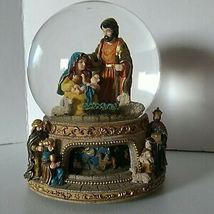 """Enesco Nativity Musical Revolving Base Snow Globe """"O Little Town of Bethlehem"""""""