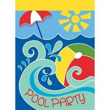 Pool Party Beach Ball Waves Of Blue 13 x 18 Rectangular Small Garden Flag