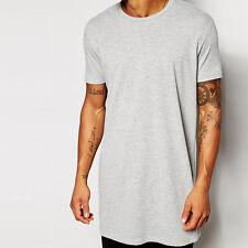 Mens Long shirt  Hips hop tee T-shirt Men Short Sleeve Longline casual Tee shirt
