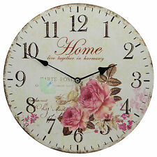 """TKF 13"""" Silent Wall Clock with Home and Roses Flower Butterfly Rustic Prints"""