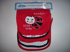 Cutie Pie Bibs Girls 5pc Layette Set Baby Infant Daddys Little Lady Bows  NWT