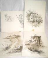 4 AQUARELLES 1900 LAVIS DE GRIS ETUDES DE PAYSAGE ET ANIMAUX (4)