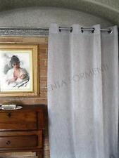 Tenda arredamento casa, effetto lino, colore grigio con anelli cm 140 x h 280
