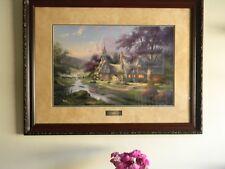 "THOMAS KINKADE ""Clocktower Cottage"" Garden Framed S&N Paper Print USED Free Ship"