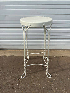 Antique Twisted Wrought Iron and Wood Ice Cream Parlor Stool Plant Stand