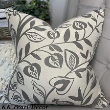 """Cubierta Decorativa cushio 18"""" Gris Decoración Floral y diseño de hoja doble cara"""