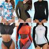Women Rash Guard Long Sleeve Swim Shirt SPF40+ Surfing Swimsuit Swimwear S-3XL