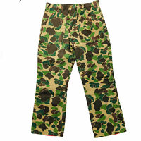 Duck Camouflage Men's Insulated Hunting Pants Size 34x29 Zip Fly Brown Green