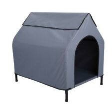 Canvas Dog Kennel Grey Large Pet House Tent Play Steel Frame Cozy Pad